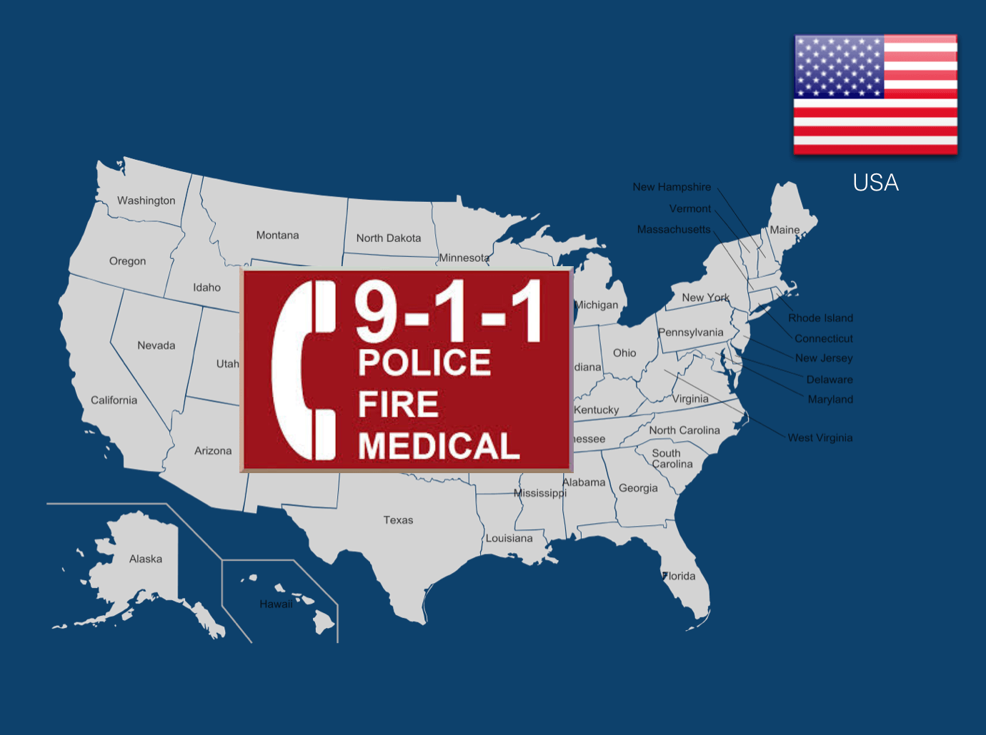 Dial 911 to call an ambulance in the USA