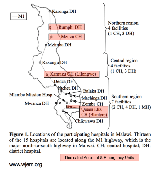 Hospitals with Accident and Emergency Units in Malawi