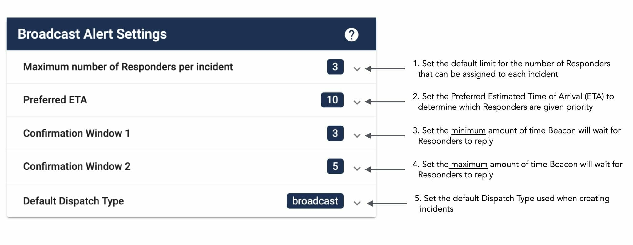 Broadcast Alert Settings with Descriptions - Dispatcher Guide - Beacon Emergency Dispatch v5.0