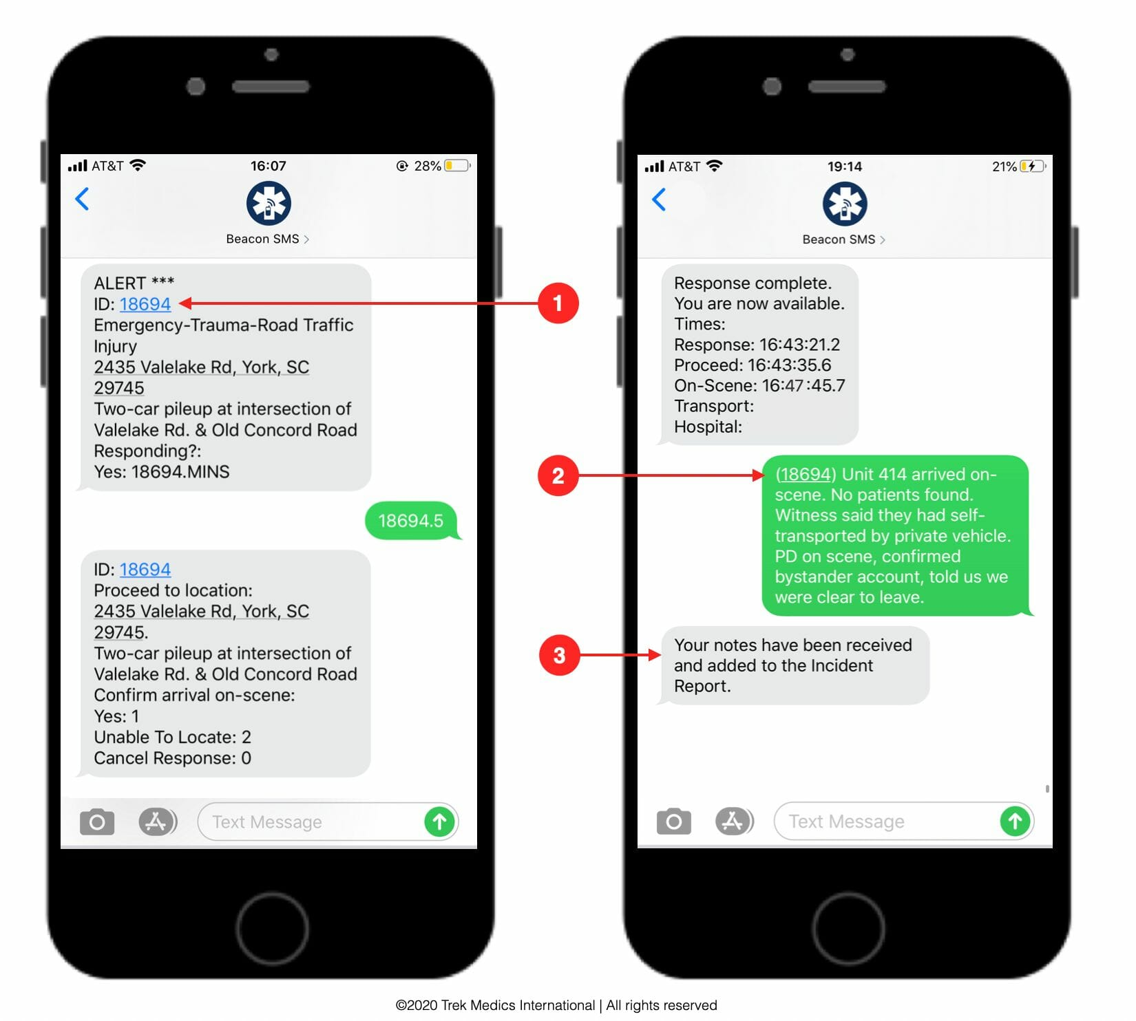 Submit Incident Notes by SMS - Beacon Emergency Dispatch