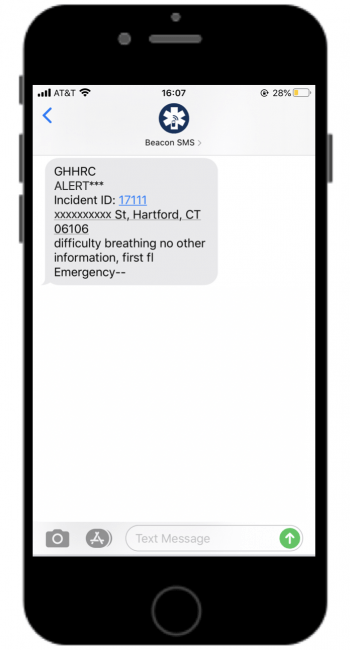 Text Message Alert Sent to Greater Hartford Harm Reduction Coalition for an Opioid Overdose