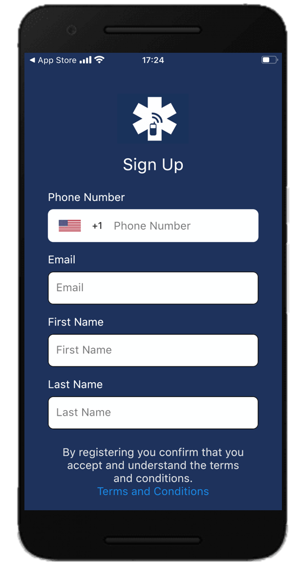 Sign Up Screen for the Beacon Emergency Dispatch Mobile App v4.0