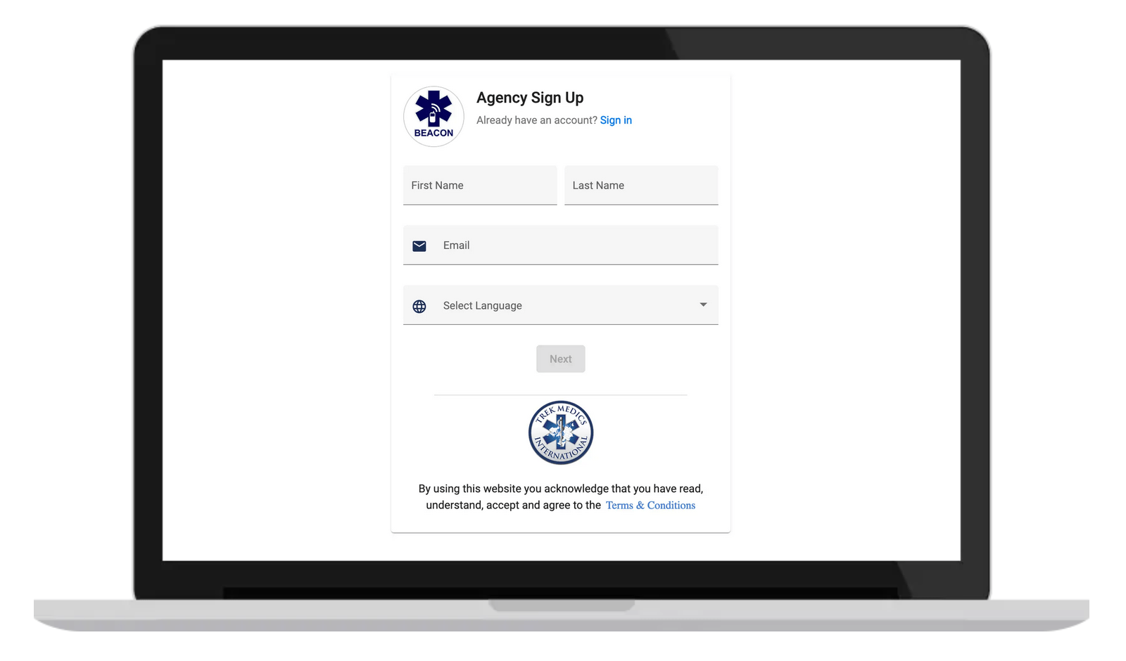 Laptop - Agency Account Sign Up Page - Beacon Emergency Dispatch Platform v5.0