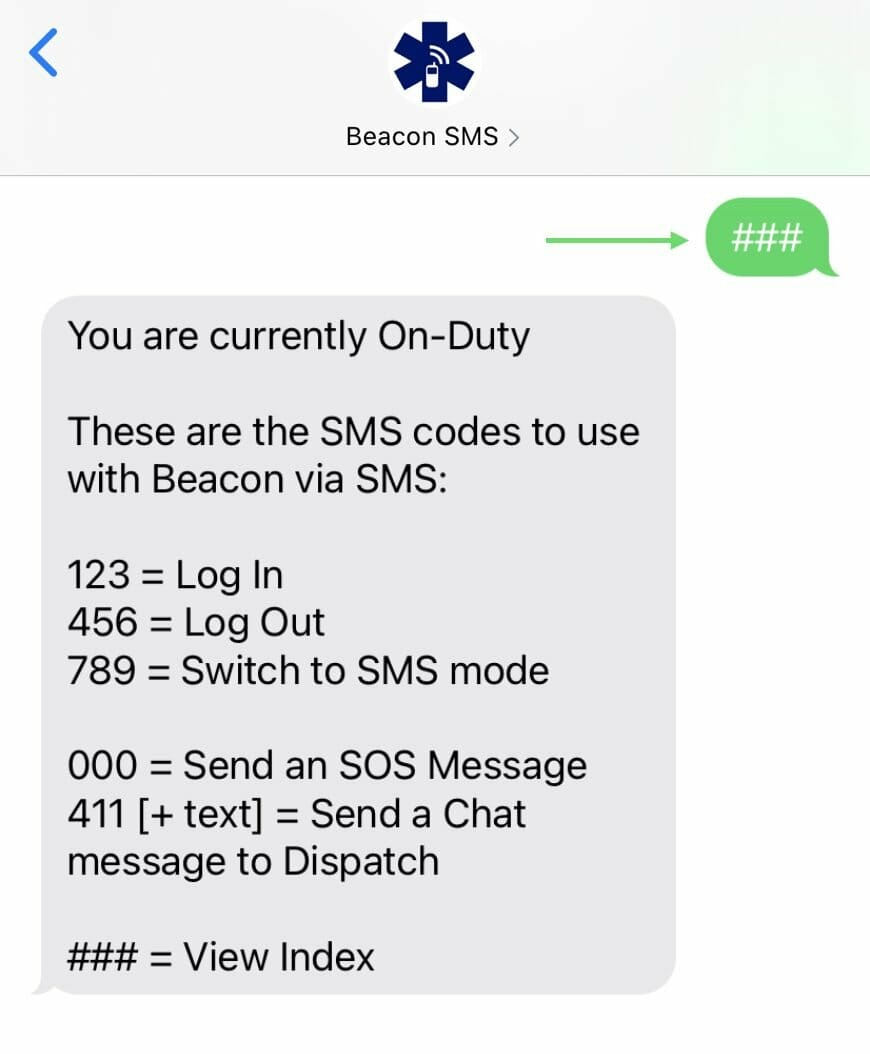 SMS Code Index_SMS Guide for Beacon Responders